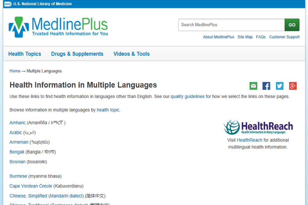 Health Information in Multiple Languages